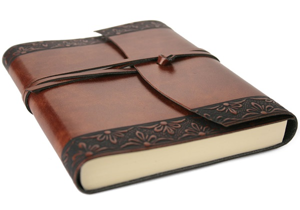 Picture of Fiore Handmade Recycled Leather Wrap A5 Journal Chestnut Plain