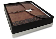 Picture of Fiore Handmade Recycled Leather Wrap Large Photo Album Chestnut
