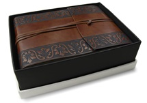 Picture of Fiore Handmade Recycled Leather Wrap Small Photo Album Chestnut