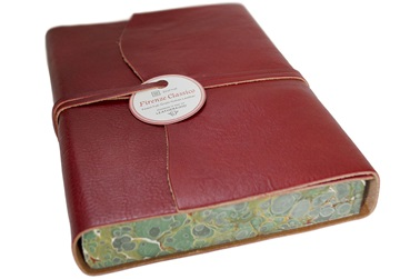 Picture of Firenze Classico Handmade Italian Leather Wrap A5 Journal Burgundy Plain