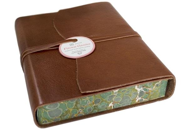 Picture of Firenze Classico Handmade Italian Leather Wrap A5 Journal Tuscan Sun Plain