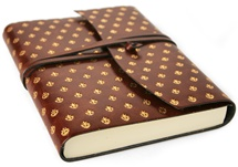 Picture of Fleur De Lys Handmade Recycled Leather Wrap A6 Journal Gold Plain