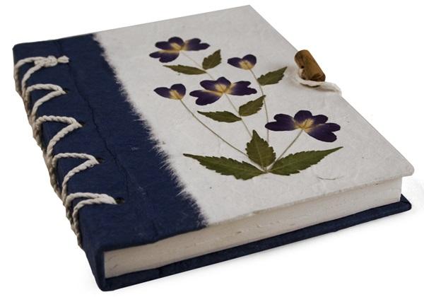 Picture of Floral Petal Handmade A5 Journal Blue Flower Plain