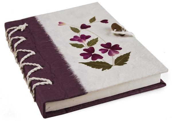 Picture of Floral Petal Handmade A5 Stocking filler Violet Flower Plain