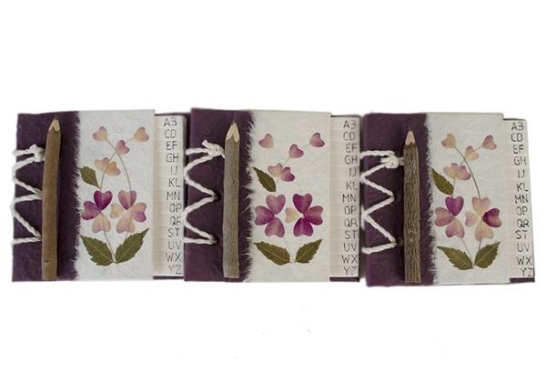 Picture of Floral Petal Handmade Hand Bound Mini Address Book Violet Flower
