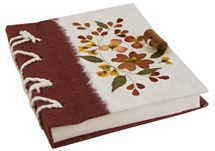 Picture of Floral Petal Handmade A6 Journal Red Flower Plain