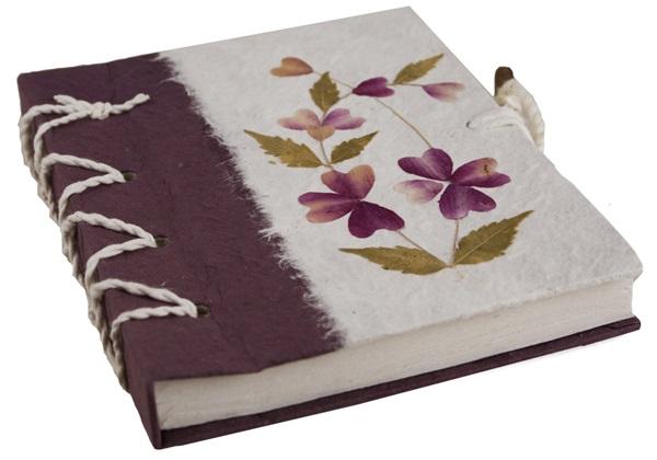 Picture of Floral Petal Handmade A6 Journal Violet Flower Plain