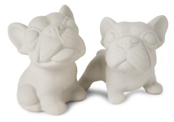 Picture of French Bulldog Handmade Unpainted Ceramics Mini Unpainted Cruet Set Unglazed