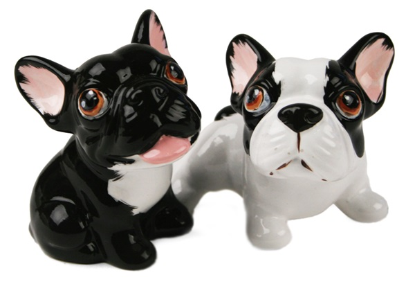 Picture of French Bulldog Handmade Mini Cruet Set White And Black