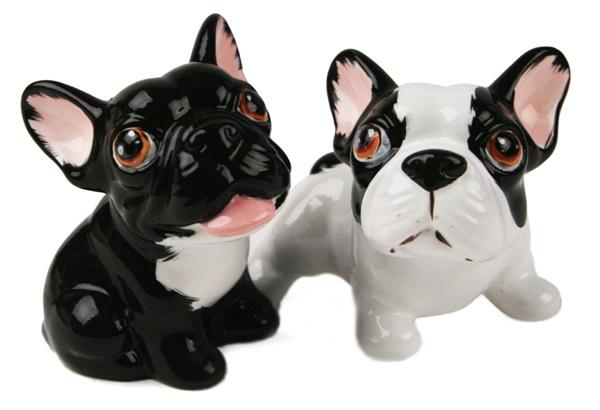Picture of French Bulldog Handmade Mini Cruet Set White And Black
