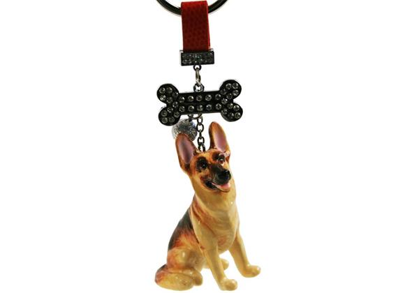 Picture of German Shepherd Handmade Mini Key Ring Tan and Black