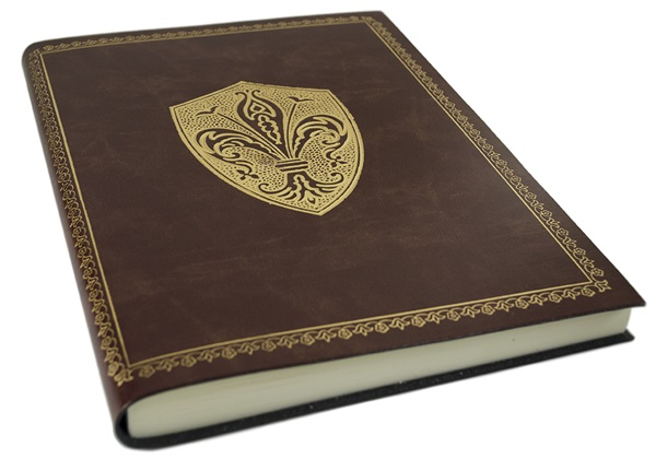 Picture of Giglio Handmade Recycled Leather Bound A4 Journal Chestnut Gold Plain
