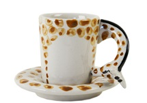 Picture of Giraffe Handmade Ceramic 2oz Espresso Cup Orange