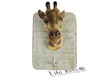 Picture of Giraffe Handmade Rustic Single Wall Hook Giraffe Yellow