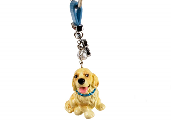 Picture of Golden Retriever Handmade Mini Key Ring Gold