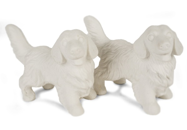 Picture of Golden Retriever Handmade Unpainted Ceramics Mini Unpainted Cruet Set Unglazed