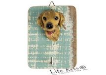 Picture of Golden Retriever Handmade Rustic Single Wall Hook Yellow