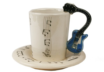 Picture of Guitar Handmade Ceramic 2oz Espresso Cup Blue