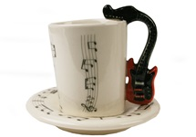 Picture of Guitar Handmade Ceramic 2oz Espresso Cup Red