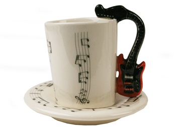 Picture of Guitar Handmade Ceramic 2oz Espresso Cup Red