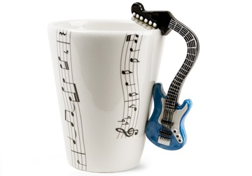 Picture of Guitar Handmade 8oz Coffee Mug Electric Blue