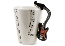 Picture of Guitar Handmade 8oz Coffee Mug Electric Black