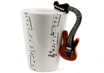 Picture of Guitar Handmade 8oz Coffee Mug Electric Red