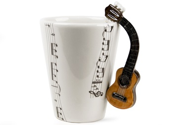 Picture of Guitar Classic Handmade 8oz Coffee Mug Brown