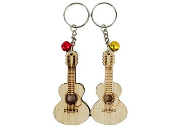 Picture of Guitar Classic Small Set of 2 Beige Handmade Key Ring