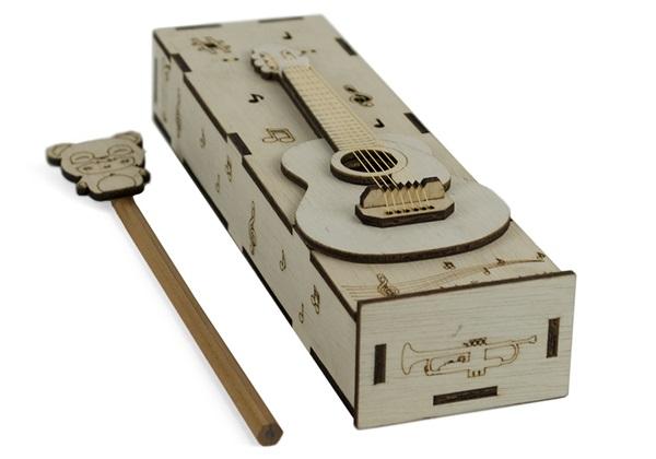 Picture of Guitar Handmade Regular Wooden Pencil Box Beige
