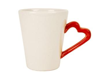 Picture of Heart Handmade Ceramic 8oz Coffee Mug White