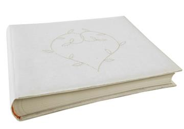 Picture of Heart Handmade Large Photo Album Linen White