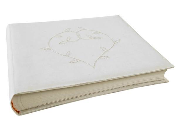 Picture of Heart Handmade Large Photo Album Linen White