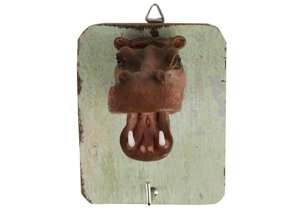 Picture of Hippo Handmade Rustic Single Wall Hook Hippo Brown