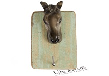 Picture of Horse Handmade Rustic Single Wall Hook Horse Tan