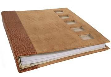 Picture of Hybrid Handmade Leather Bound Large Post Bound Photo Album Natural