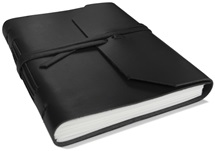 Picture of Indra Handmade Leather Wrap A5 Journal Black Plain