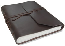 Picture of Indra Handmade Leather Wrap A5 Journal Tan Plain
