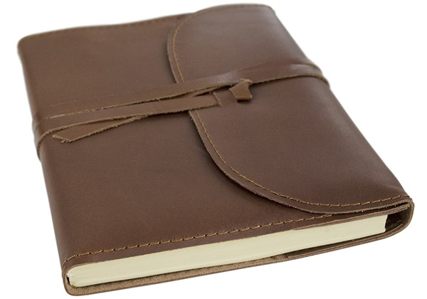 Picture of Indra Handmade Leather Wrap A5 Refillable Journal Tan Plain
