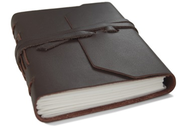 Picture of Indra Handmade Leather Wrap Mini Journal Tan Plain