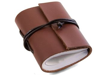 Picture of Indra Tiny Brown Handmade Leather Wrap Journal