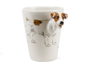 Picture of Jack Russell Handmade 8oz Coffee Mug White and Tan