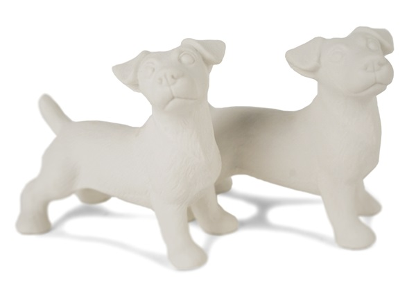 Picture of Jack Russell Handmade Unpainted Ceramics Mini Unpainted Cruet Set Unglazed