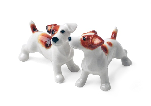 Picture of Jack Russell Handmade Mini Cruet Set White And Tan