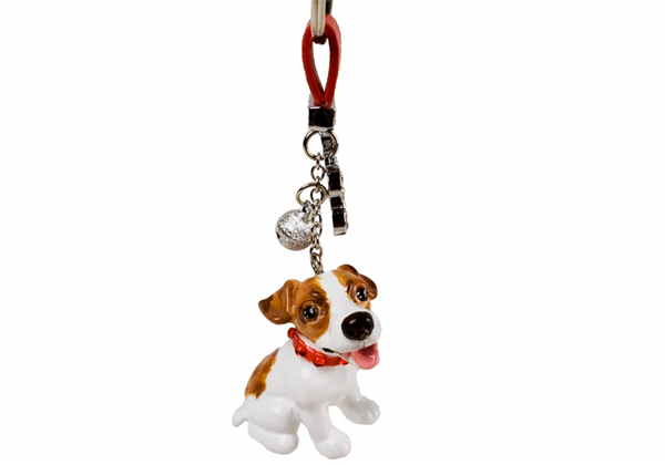 Picture of Jack Russell Handmade Mini Key Ring White And Tan
