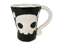 Picture of Jolly Roger Handmade Ceramic 12oz Coffee Mug Black