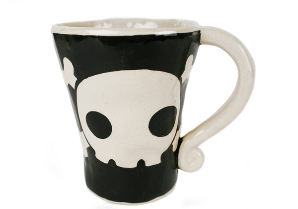 Picture of Jolly Roger Handmade Ceramic 12oz Coffee Mug Black