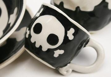 Picture of Jolly Roger 2oz Black Handmade Ceramic Espresso Cup