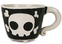 Picture of Jolly Roger Handmade Ceramic 8oz Coffee Mug Black