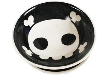 Picture of Jolly Roger Handmade Ceramic Cereal Medium Bowl Black